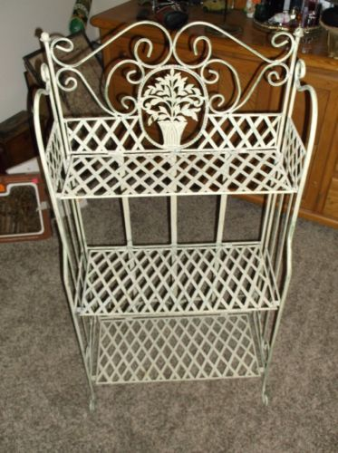 Antique Wrought Iron Bakers Rack Plant Stand Vtg Shabby