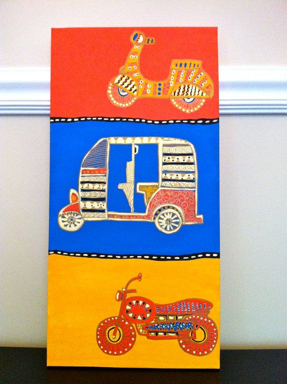 Automobile Stretched Framed Canvas by sukhu on Etsy, $50.00