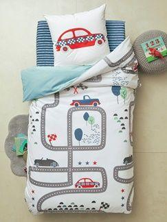 Parure réversible housse de couette + taie d'oreiller enfant TOUS EN COURSE - imprimé voitures