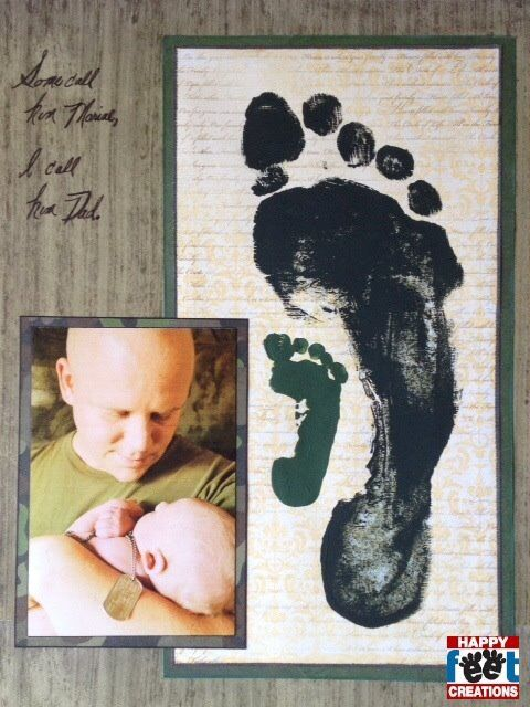 Father/Son photo art project. Toddler art projects or kid art projects. Military art projects for kids or toddlers. Feet / hand art projects