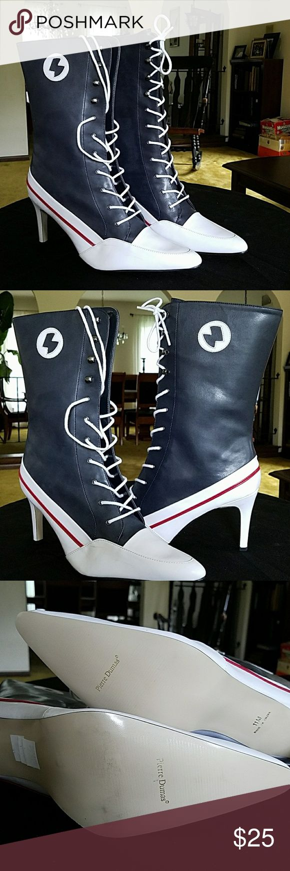 Pierre Dummas Blue and White Boot NEW Pierre Dumas Shoes Lace Up Boots