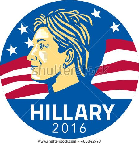 Jul 8, 2016:Illustration showing American presidential candidate for president 2016 Hillary Clinton of the Democratic Party side profile with stars and stripes in background set inside circle. #Hillary2016 #retro #illustration