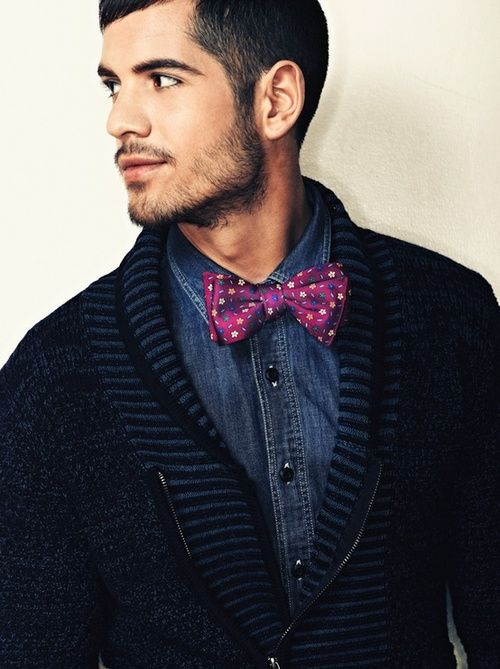 デニムシャツコーデメンズcardigan, denim, bow tie with color pop and dots