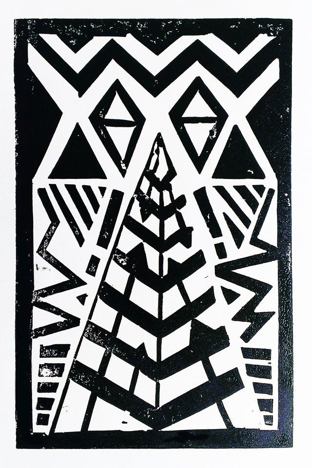 a lino print each week, week 12 - tribal trend