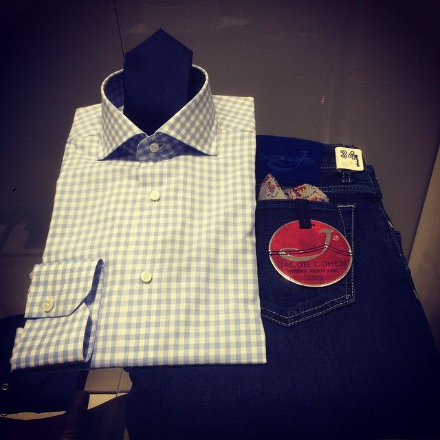 #Finamore shirt, #Roda Tie and #Jacobcohen denim in our #inzerillostore  Shop online free shipping worldwide tax included www.inzerillo.it  #freeshipping #worldwide #top