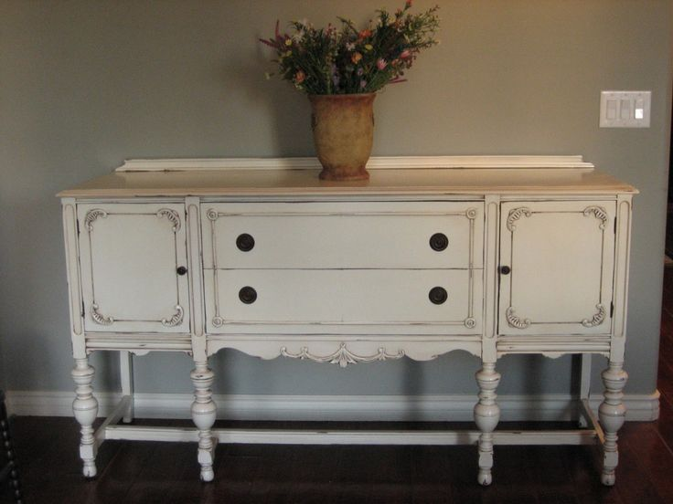 SOLD ~ Antique White Finish.  Two Drawers With Pretty Detailed Molding