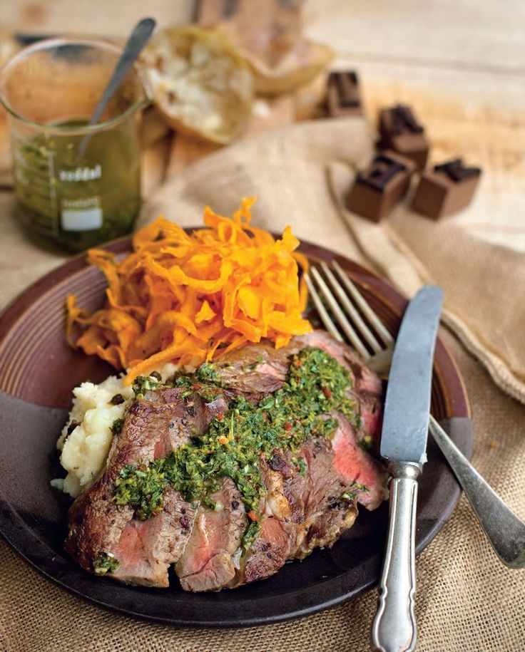Seared Scotch fillets with chimichurri sauce & sweet potato chips by Billy Law from Have You Eaten? | Cooked