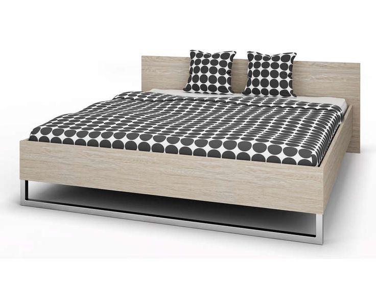 lit 160x200 cm style coloris chne et blanc vente de lit adulte conforama - Lit Podium Conforama