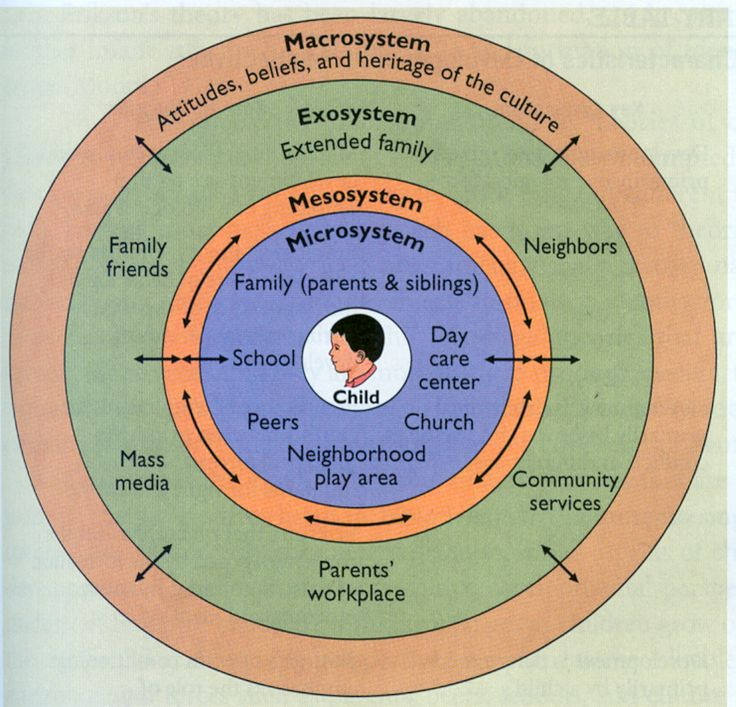 Vygotsky was the first proponent of the contextual view, but Bronfenbrenner, is its best proponent today. Bronfenbrenner views the developing child embedded in a series of complex and interactive systems. He divides the environment into four levels: the microsystem, the mesosystem, the exosystem, and the macrosystem. #Development