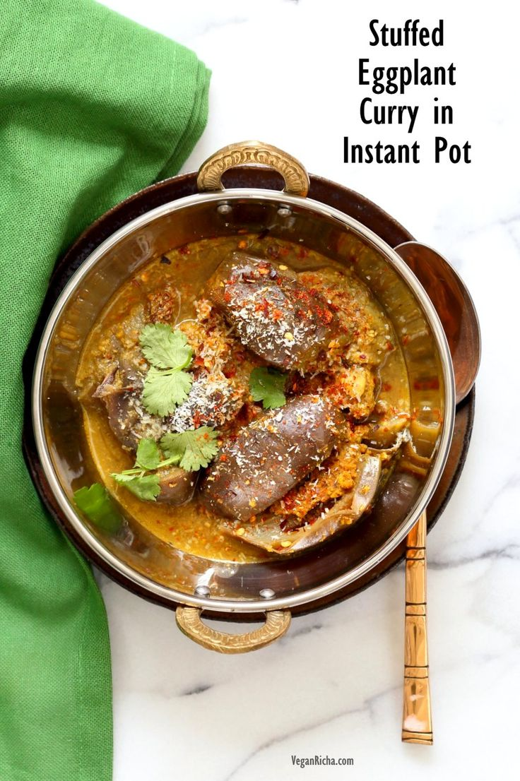 Instant Pot Masala Eggplant Curry. Pressure cooked Indian Baghare baingan. Stuffed Baby Eggplant/ Brinjal Curry. Vegan Glutenfree Soyfree Recipe Add chickpeas to make a meal.