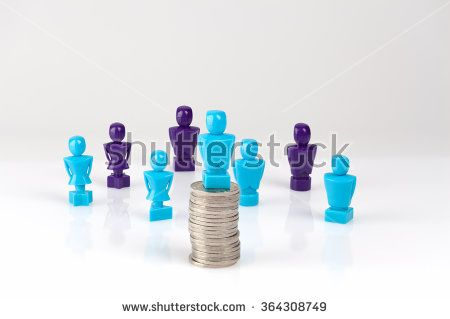 Male figurine placed on top of pile of coins with additional figurines in the background. Leadership and corporate structure concept