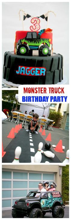 Monster Truck Party | This toddler boy birthday party is all about the Monster Trucks. If you have a Monster truck Jam fan in your house this is a must see party. #childrensparty #boyparty