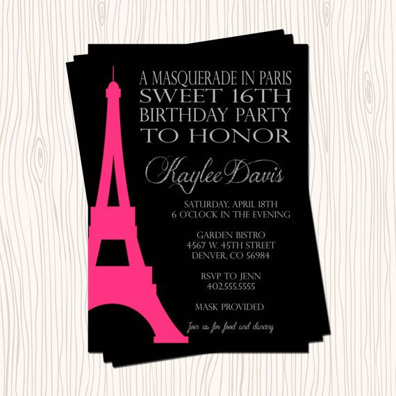 172 best a time and place custom invitations images on for Paris orange card