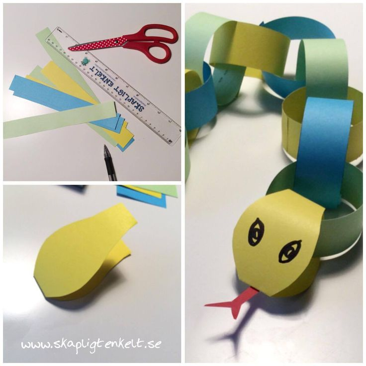 Pyssla orm av pappremsor. Enkelt pyssel för barn.