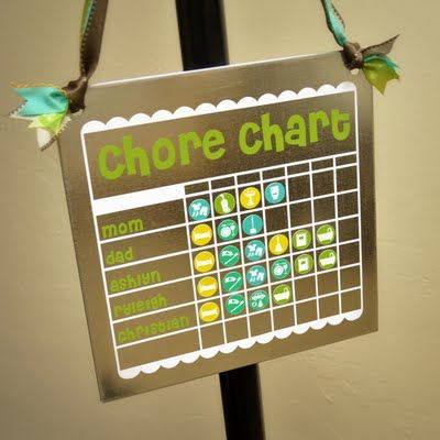 Magnet Chore chart.  Used the Silhouette to cut out vinyl border and text.  I also created print and cuts to make these cute chore magnets.