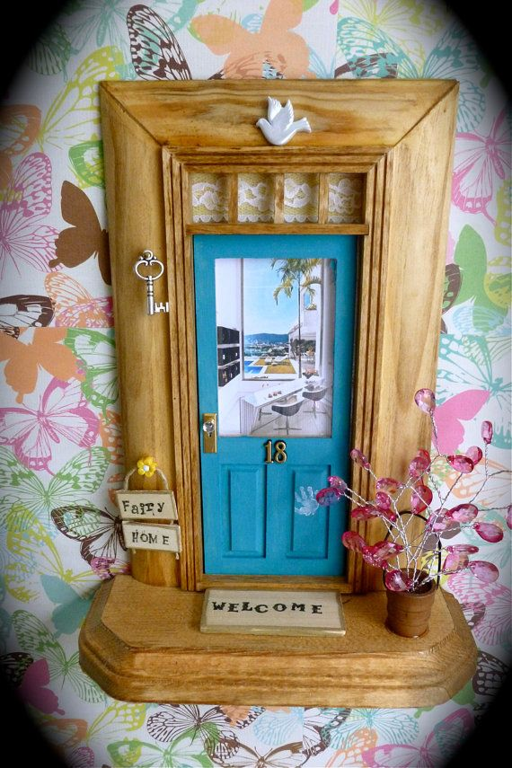 Fairy Door - Teal Blue w/Wood Stained  Trim - Poolside View on Etsy, $38.00