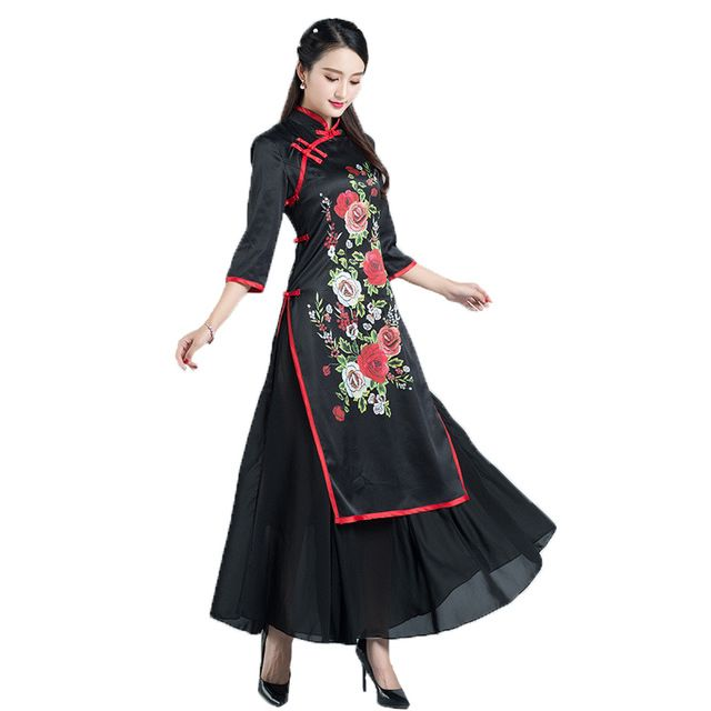 Retro Ankle-Length Mother Clothing Slim National Style Dress Three Quarter Sleeve Stand Neck Printing Black Improved Cheongsams