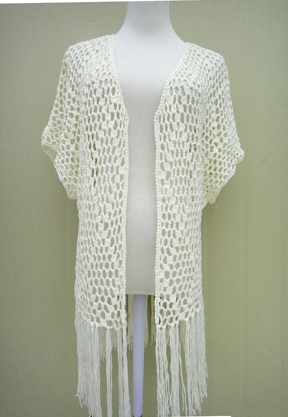 crochet fringe kimono cardigan cover up white