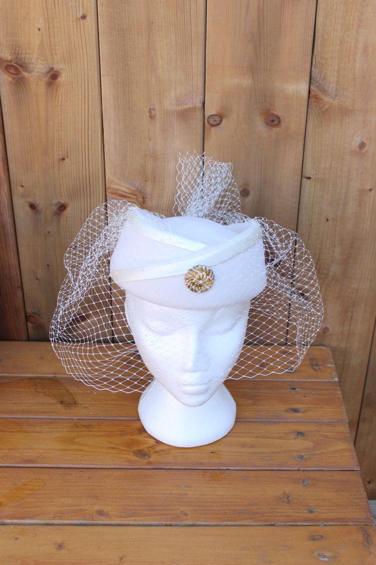 Vintage 1980s Princess Dianna Elegant Doeskin Wool Felt Veiled Hat by…