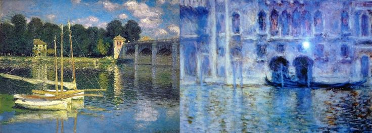 "Dos réplicas (28"" x 22"") enmarcadas de dos cuadros de Monet: 'The bridge at Argenteuil' y 'Venise Palazzo de Mula' / Monet's 'The bridge at Argenteuil' and 'Venise (sic) Palazzo de (sic) Mula' art prints 22"" x 28"" each, with wooden frame ~ Framed museum quality reproduction of two oil canvas of French impressionist Claude Monet"