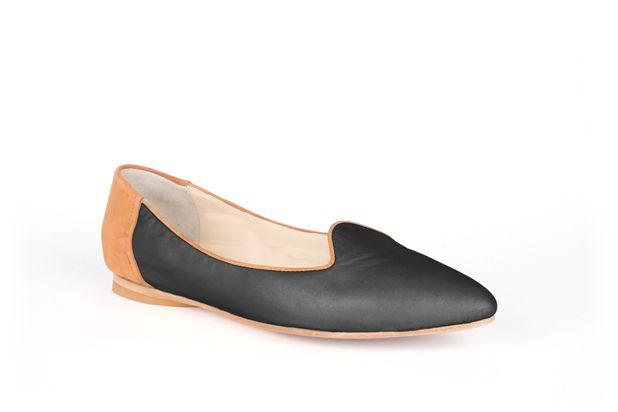 The Feminine Slipper by Poppy Barley Made to Measure, colour blocked in Camel Suede and Essential Black. #Customize your leather colours and hardware. #Handcrafted to your measurements. #Flats #BalletFlats poppybarley.com