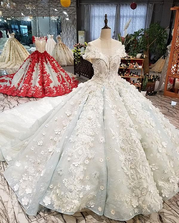 13f13fb5b Item Type:Wedding Dresses Back Design:Lace-up Silhouette:Ball Gown Built-in  Bra:Yes Decoration:Beadings,Sequins,Rhinestones Train:Cathedral Train(from  the ...
