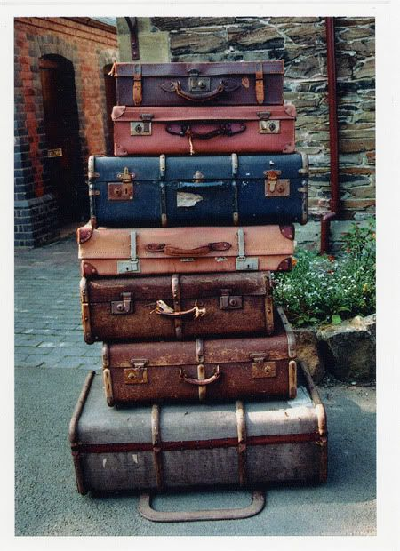 Vintage luggage. Some in the basement . We take few trips but love these old travelers.