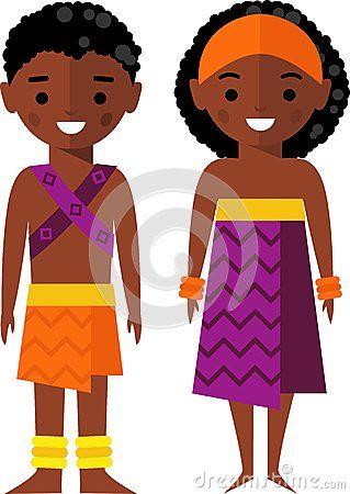 Ilustração do vetor de crianças afro-americanos