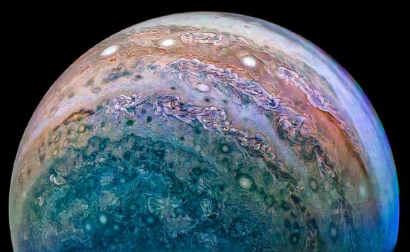 NASA has released beautiful new images of Jupiter's turbulent atmosphere from the tenth close flyby of its Juno spacecraft. This image of Jupiter was taken by Juno on December 16 and then processed by citizen scientist David Marriott. Image credit: NASA / JPL-Caltech / SwRI / MSSS / David Marriott.
