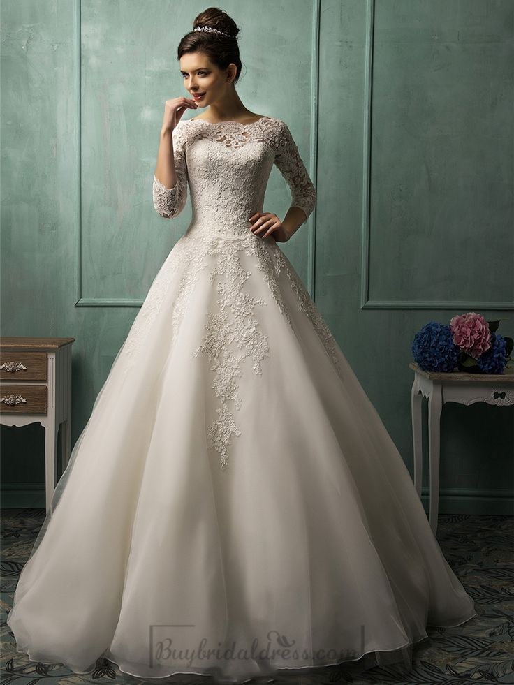 Three Quarter Sleeves Illusion Neckline A-line Wedding Dress