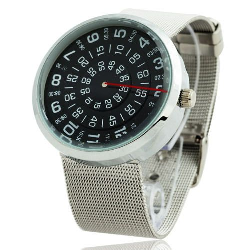Creative Rotary Dial Design Luxury Sport Men Quartz Wrist Watch Mesh Band JP4