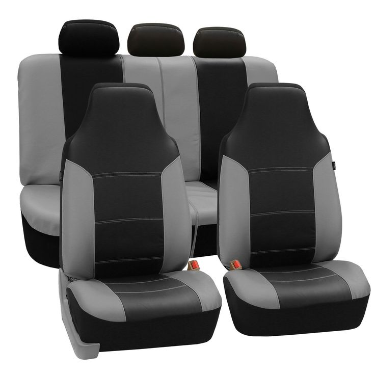 FH Group Grey Black Premium Leatherette Auto Seat Covers Full Set Gray