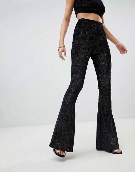 e6ad98b1fab4 Fashionkilla | Fashionkilla flared PANTS Two-piece in black glitter