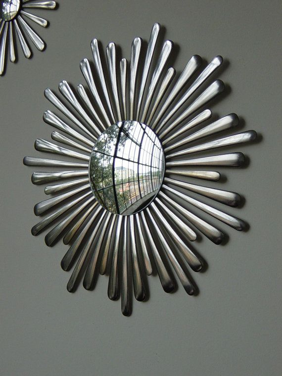 "Sunburst 15"" Wall Mirror-Handmade-Stainless Spoon Handles."
