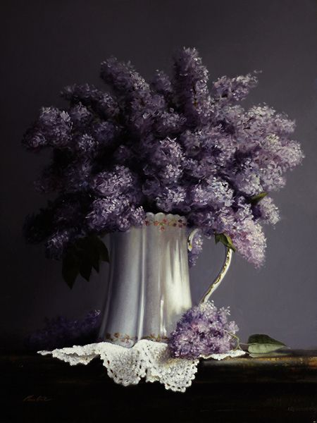 PITCHER OF LILACS by Larry Preston Oil ~ 16 x 12