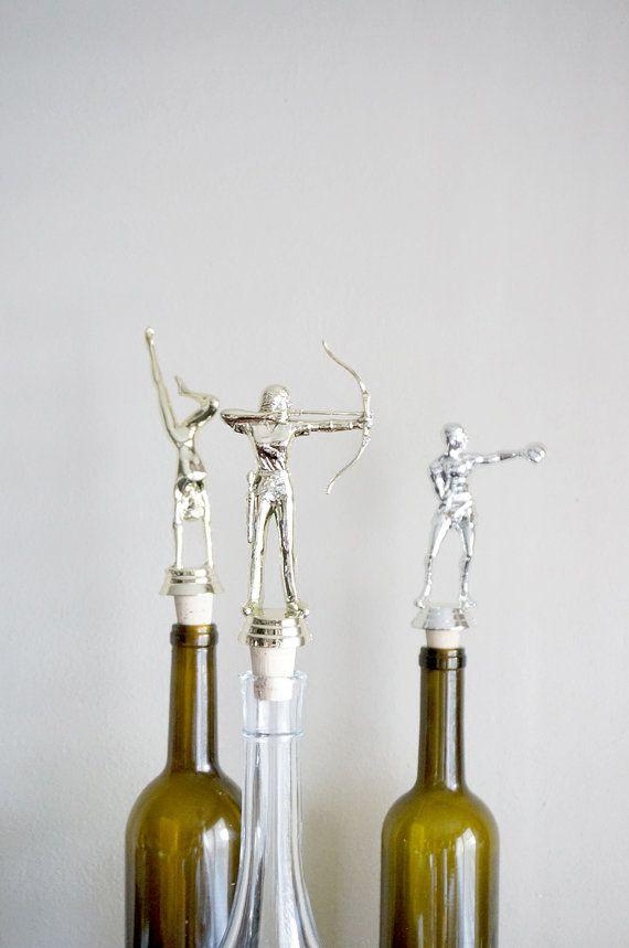 Women's Archery  Vintage Trophy Cork Wine Bottle by CaprockStudio, $14.00  How cool!  Great Host & Hostess gift idea.