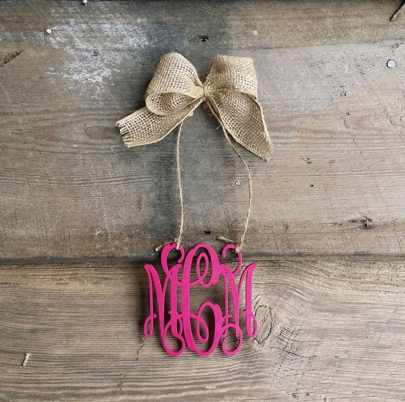 Car Charm Rear View Mirror Monogram Painted Mini by BarnLove