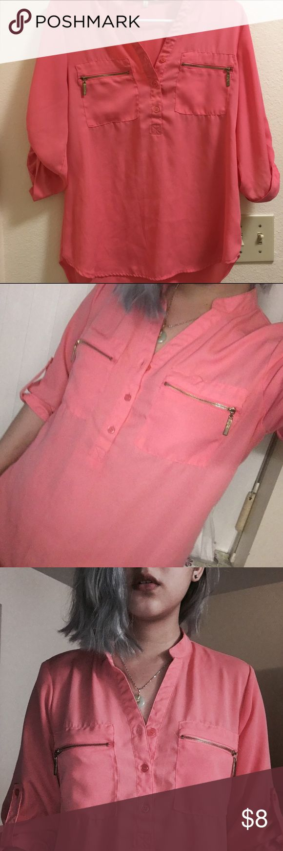 Sheer Peach Button Down 🍑peach tone button down shirt with zipper pickets 🍑 says size large but fits S/M 🍑no stains/weddings of wear or tear🍑make me a bundle offer!🍑I accept reasonable offers icy Tops Button Down Shirts