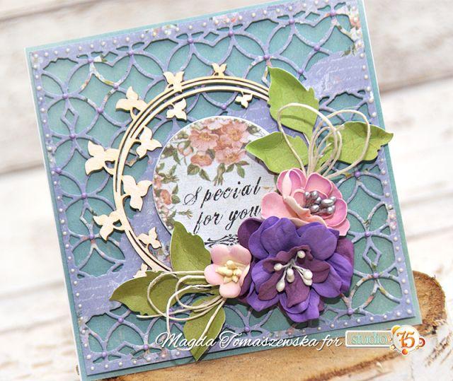 Kartka z kwiatami z foamiranu / Card with foamiran flowers