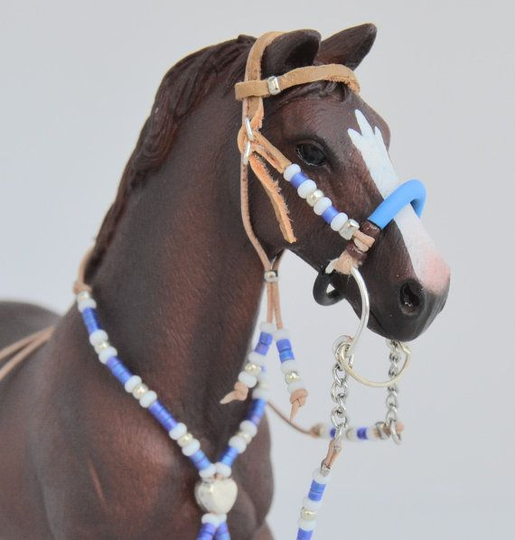 Western headstall BRIDLE with hackamore, and rhythm beads for SCHLEICH model…