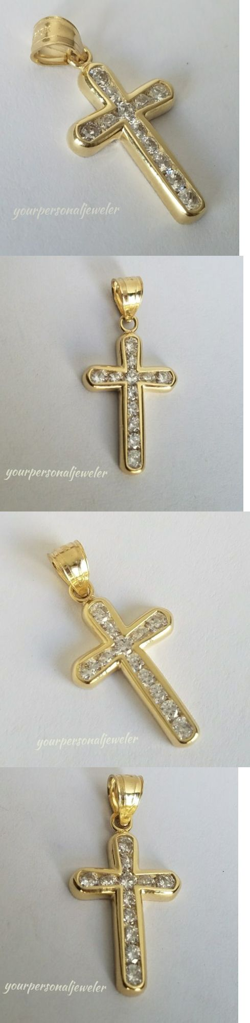 Diamond 164331: .40 Carat Man Made Diamond 10K Yellow Gold Cross Pendant 1 Inch Long -> BUY IT NOW ONLY: $79.99 on eBay!