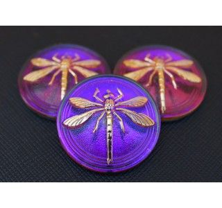 Cabochon Violet-Purple with Gold Dragonfly