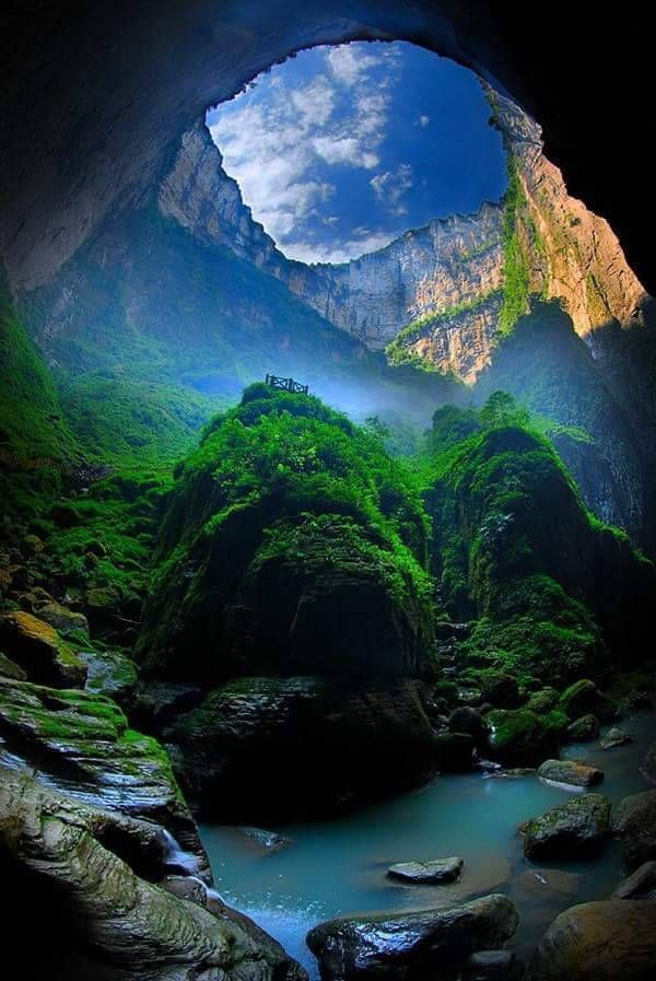 """The Xiaozhai Tiankeng. "" The Xiaozhai Tiankeng, also known as the Heavenly Pit, is the world's deepest sinkhole. It is located in Fengjie County of Chongqing Municipality, in southwest China."