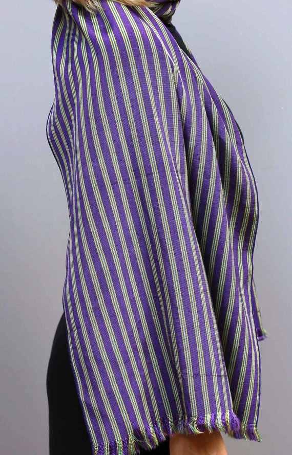 Silk and cotton Handwoven scarf Purple stripes by ShawlsandtheCity, $60.00