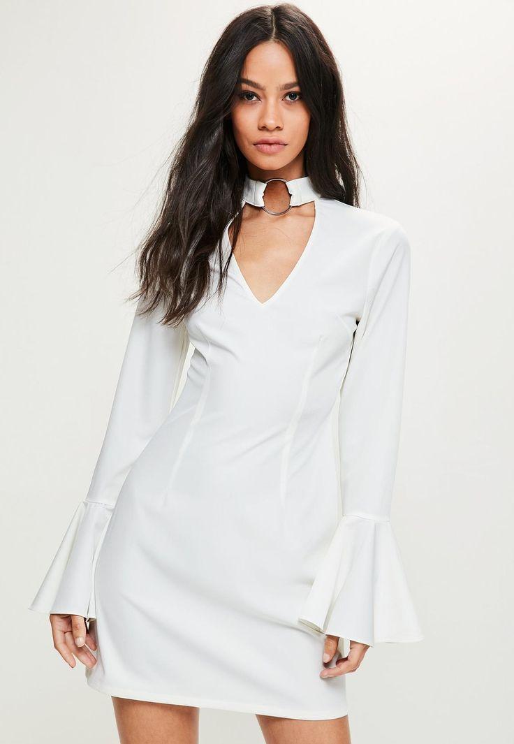 Missguided - White Frill Sleeve Ring Choker Swing Dress