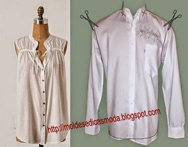 Reciclagem de camisa de homem. Tal como sugere a imagem transforme as camisas que deixaram de ter uso em blusa de senhora. O tema reciclagem passou a fazer
