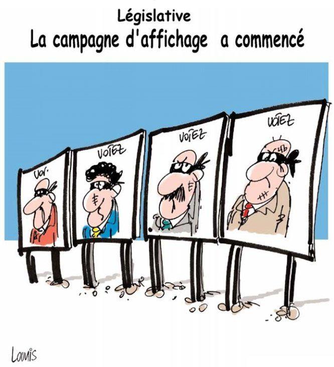 Lounis (2017-03-29) Algérie: législatives: La campage d'affichage a commencé, Caricature de Lounis du 29-03-2017 | Presse-dz