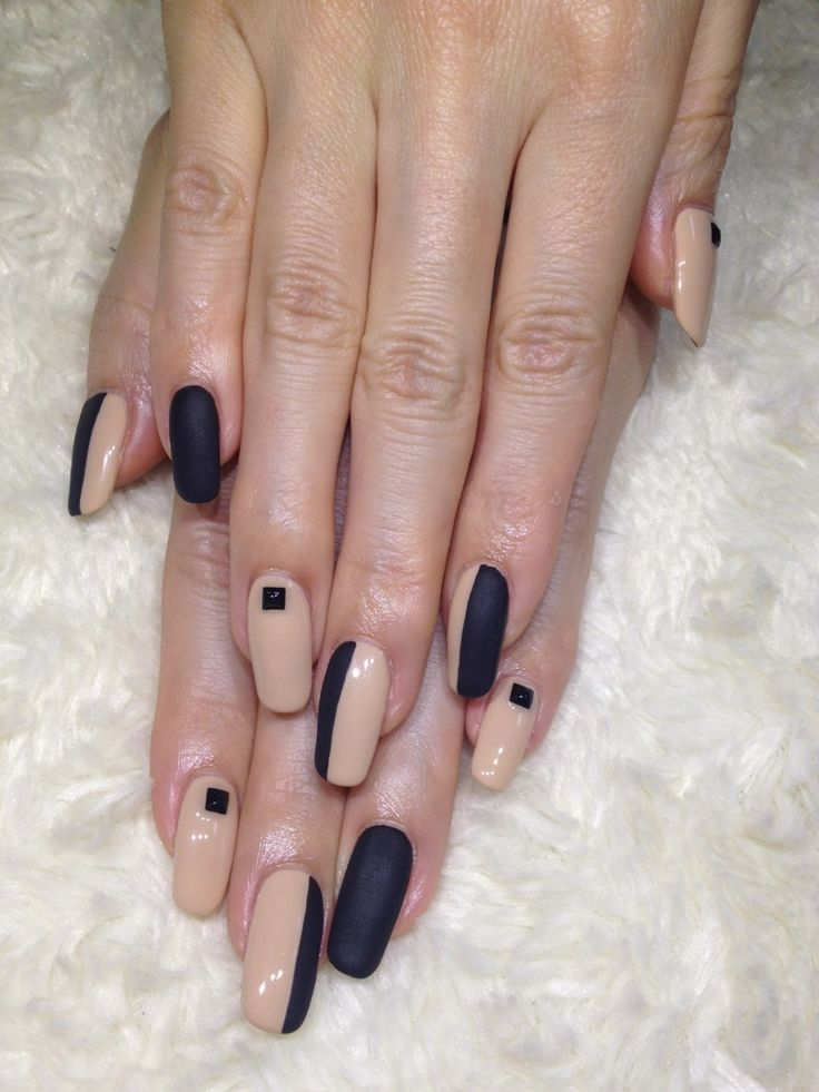 Black and Nude Nail Art