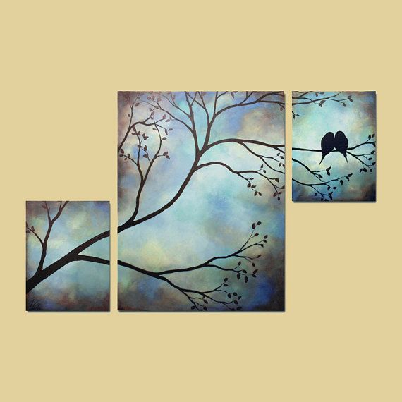 Large Painting Love Birds Tree Branches 36 by ContemporaryEarthArt