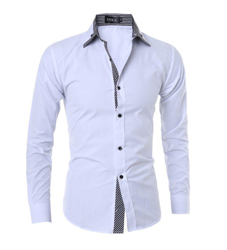 2017 New Men Casual Shirts Mens Long Sleeves Slim Fit  Business Dress White Shirt Turn Dowm Stylish Cotton Shirt for Men